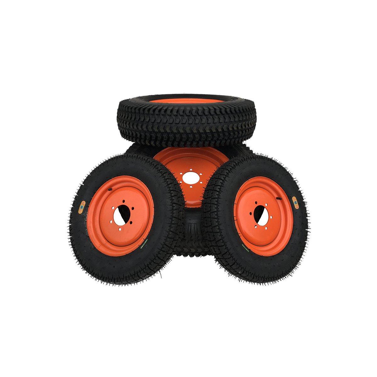 komplettradsatz - rasenreifen - felge orange passend für kubota